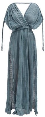 Kasia Kulenty - Aura High-slit Cotton-gauze Maxi Dress - Womens - Blue