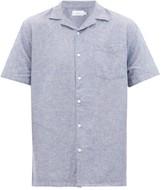 Onia - Vacation Cuban Collar Linen Blend Chambray Shirt - Mens - Blue