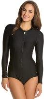 Next Good Karma Solid Malibu Zip L/S One Piece Swimsuit 8124274