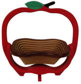 World Unique Imports Red Apple Shape Collapsible Wooden Basket/Trivet