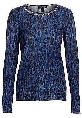 Saks Fifth Avenue Women's COLLECTION Embellished Leopard-Print Cashmere Sweater