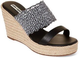 Karl Lagerfeld Paris Black Celie Wedge Espadrille Slide Sandals
