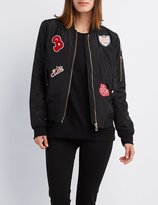 Charlotte Russe Patched Zip-Up Bomber Jacket