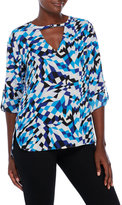 Milano Blue Printed Blouse with Roll Tab Sleeves