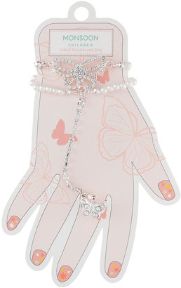 Monsoon Sparkle Butterfly Linked Bracelet and Ring