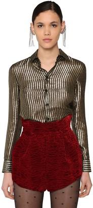Saint Laurent Classic Striped Satinette Lame Shirt