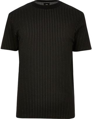 River Island Big and Tall black stripe slim fit T-shirt