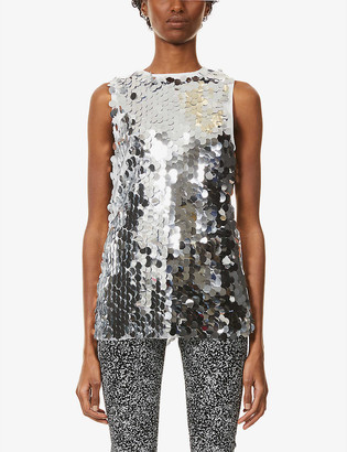 NEVER FULLY DRESSED Sequin-embellished mesh top