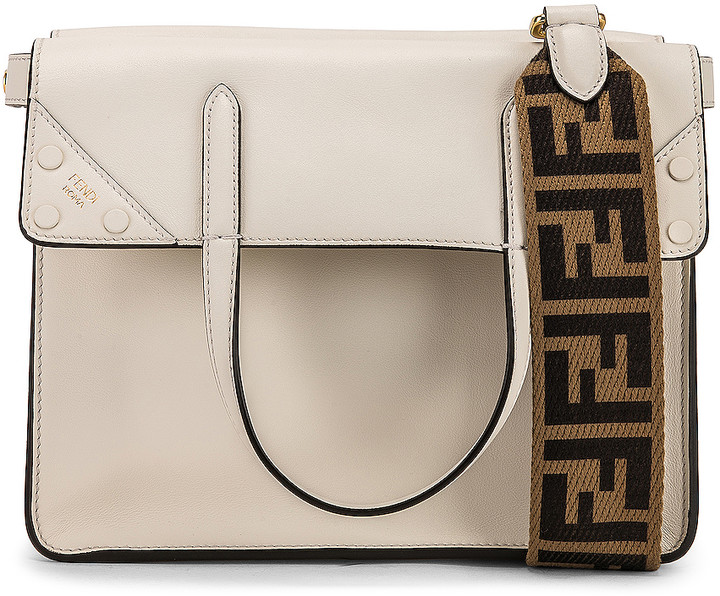Fendi Small Flip Crossbody Bag in Ice White | FWRD