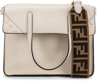 Fendi Small Flip Crossbody Bag in Ice White   FWRD