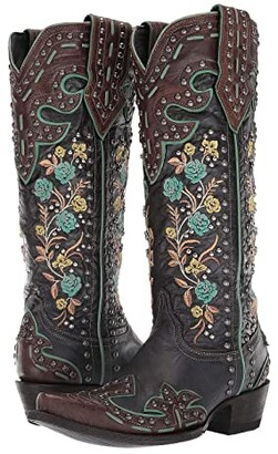 Double D Ranchwear by Old Gringo Round Up Rosie (Blue/Brass) Cowboy Boots