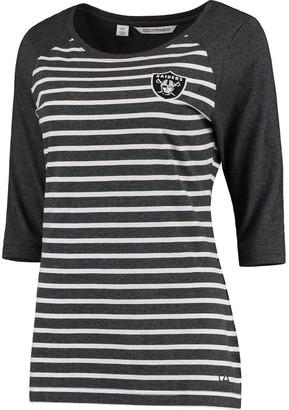 Cutter & Buck Unbranded Women's Heathered Charcoal Oakland Raiders Revel Stripe Three-Quarter Sleeve T-Shirt