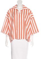 Balenciaga 2017 Oversize Stripe Print Blouse