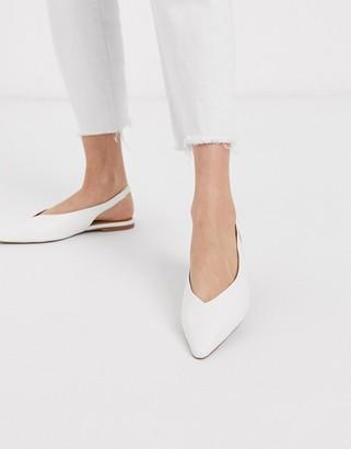 ASOS DESIGN Lacy slingback ballet flats in white