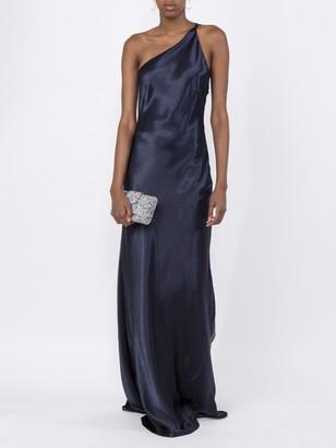 Galvan Roxy Metallic Evening Dress Navy Blue