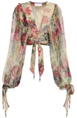 Zimmermann Cropped Floral-print Silk-georgette Top