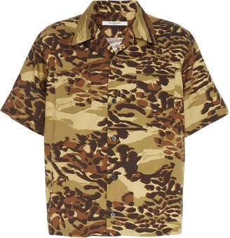 Givenchy Camouflage Cotton Camp Shirt Size: 38