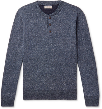 J.Crew Wallace & Barnes Melange Silk And Cotton-Blend Henley Sweater