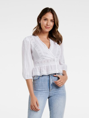 Forever New Sierra Spliced Lace Blouse - Porcelain - 12