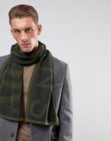 Armani Jeans Large Logo Wool Mix Scarf In Khaki