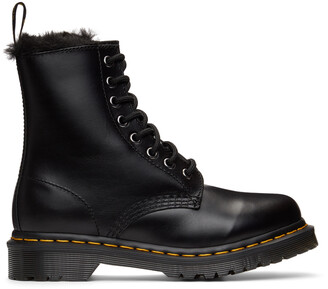 Dr. Martens Black 1460 Serena Faux-Fur Lined Boots