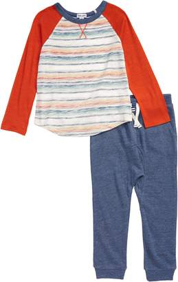 Splendid Burnout Stripe Shirt & Sweatpants Set