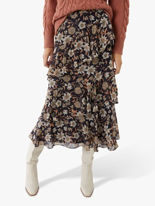 Warehouse Winter Daisy Midi Skirt, Multi