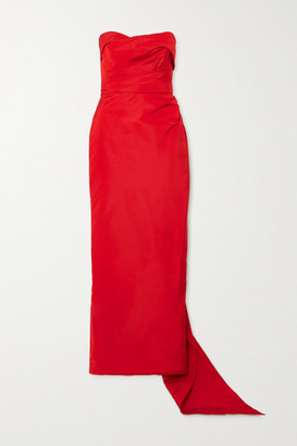 Marchesa Draped Silk-faille Strapless Gown - Red