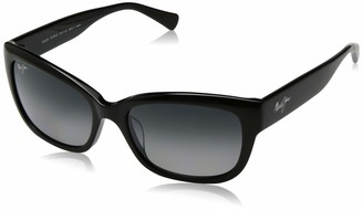 Maui Jim Sunglasses | Plumeria GS768-02 | Gloss Black cateye Frame Polarized Neutral Grey Lenses with Patented PolarizedPlus2 Lens Technology