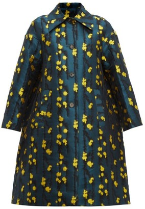 La DoubleJ Single-breasted Splatter-jacquard Coat - Womens - Green Print