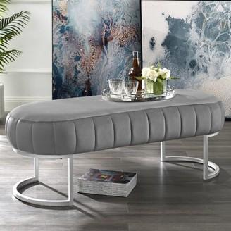 Nicole Miller Kase Upholstered Bench Upholstery: Gray, Color: Silver