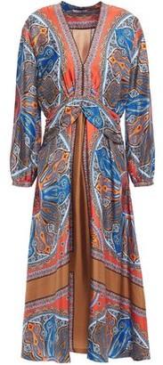 Sandro Yanis Gathered Printed Silk-twill Midi Dress