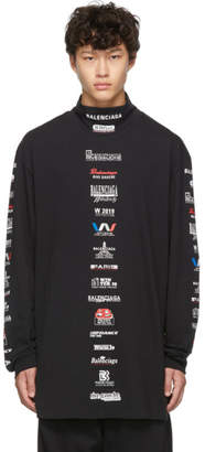 Balenciaga Black Logo List Long Sleeve T-Shirt