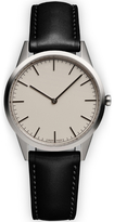 Uniform Wares Men's C35 Polished Steel Italian Nappa Leather Wristwatch Black