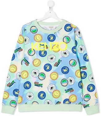 Kenzo Kids TEEN logo patchwork sweatshirt