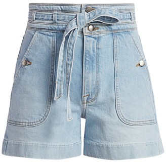 Frame Triple High-Rise Tie-Waist Denim Shorts