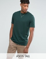 Asos TALL Relaxed Fit T-Shirt In Pique In Green