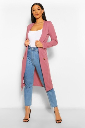 boohoo Button Detail Collarless Duster