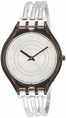 Swatch Womens Analogue Quartz Watch with Stainless Steel Strap SVOM105A