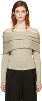 Rosetta Getty Beige Banded Off-the-shoulder Pullover