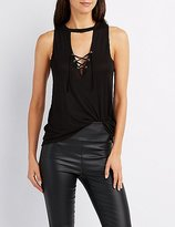 Charlotte Russe Lace-Up Front Tank Top