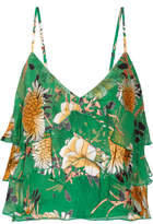 Alice + Olivia Vanessa Ruffled Fil Coupé Georgette Camisole - Dark green
