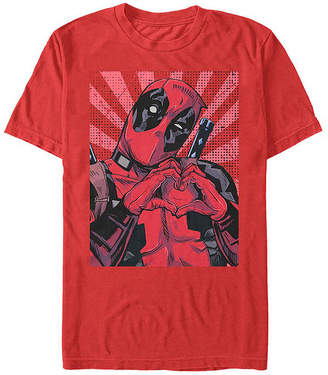 Fifth Sun Heart Hands Mens Crew Neck Short Sleeve Deadpool Graphic T-Shirt