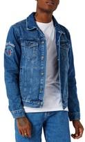 Topman Men's Embroidered Denim Jacket
