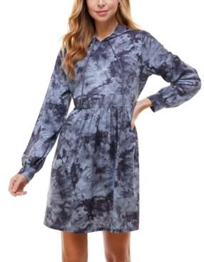 BeBop Juniors' Tie-Dyed Hoodie Fit & Flare Dress