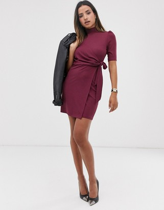 Fashion Union high neck bodycon dress with tie front wrap detail-Red