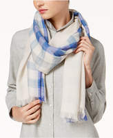 Eileen Fisher Wool Check-Print Wool Scarf