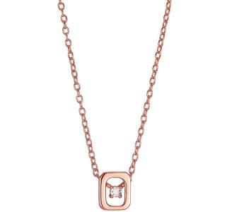 SILVER TREASURES Silver Treasures Cubic Zirconia Sterling Silver 16 Inch Link Square Pendant Necklace