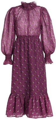 Sea Alexis Puff-Sleeve Floral Wool-Blend Maxi Shirtdress