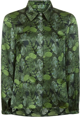 Phoebe Grace Nancy Long Sleeve Shirt in Green Leaf Print